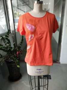 Orange Shiny Colourful Printed Flower Ladies T-Shirt Clothes pictures & photos