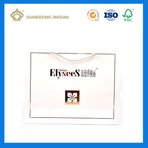 China Manufacturing White Custom Paper Bag (with gold foil logo) pictures & photos