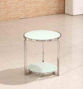 Round Modern Design Hotel Home Furniture Tempered Glass Stainless Steel Coffee Side Table pictures & photos