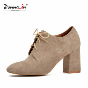 Lady Lace-up Square-Toe High Heels Pumps Women Suede Leather Shoes pictures & photos