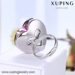14932 Fashion Luxury Big Heart Shaped Wedding Ring Plated with Rhodium Color pictures & photos
