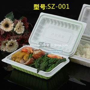 550ml Green White Hinged Single Compartment Disposable Plasitc Food Box pictures & photos