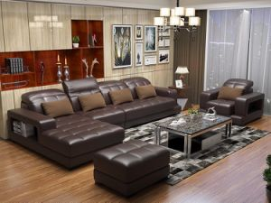 Living Room Sofa Furniture with Genuine Leather Sofa Set 1+2+3 pictures & photos