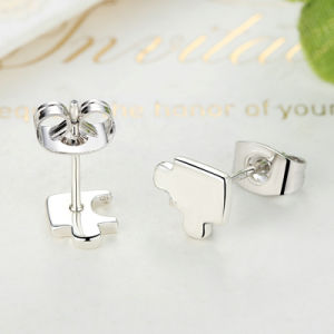 New Arrival Genuine 925 Sterling Silver Game Puzzle Stud Earrings, Clear CZ Sterling Silver Earrings pictures & photos