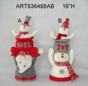 "16""H Stacking up Santa and Snowman Christmas Decoration-2asst pictures & photos"