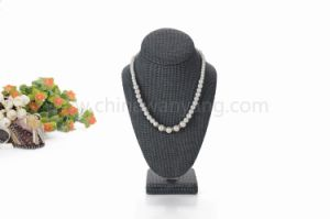 Custom Black Linen Material Bust Jewelry Display Stand for Shop pictures & photos