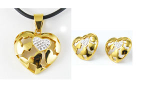 Latest Design of Hot Heart Key Earrings and Pendant Jewelry Suit for Charm Women pictures & photos