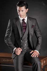 Notch Wide Lapel Black Suit of Made Measure pictures & photos