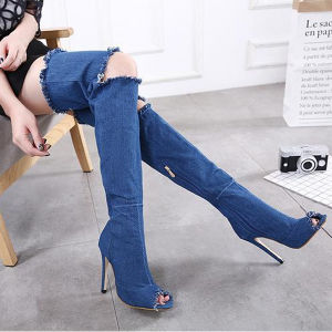 Jean Cloth High Heel Shoes and Summer Women Boots (HT-S10011) pictures & photos