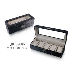 5 Slots Handmade Black PU Leather Packing Gift Box Watch Box Storage Box Watch Box