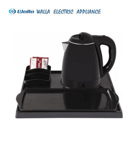 Hotel Appliance Electric Plastic Mini Kettle with Melamine Tray Set for Hotel Guest Room pictures & photos