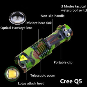 Camouflage Aluminum CREE Q5 1000lm 3 Mode Zoomable Tatical Flashlight pictures & photos