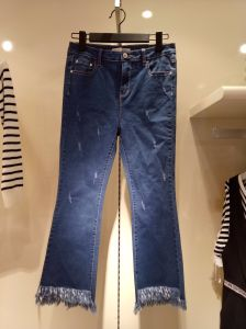 Lady′s Jeans with Grinding and Tassels