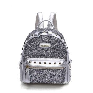 Fashion Silver Shiny PU School Backpack for Girls