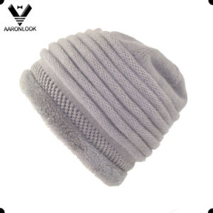 Women′s Winter Warm Angora Knitted Hat with Fur Lining pictures & photos