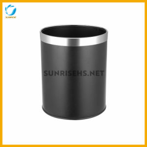 Double Layer Round Waste Bin with Silver Top Ring pictures & photos