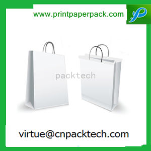 High Quanlity Solid Whole White Flat Handle Paper Carrier Bag pictures & photos