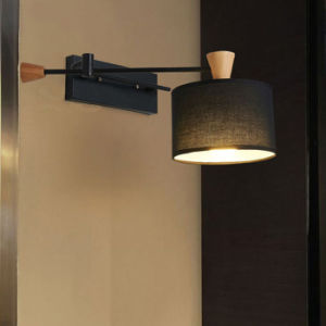 Contemporary Wood & Metal Black Bedroom Swing Wall Scones Lamp Lights with Fabric Shade for Hotel pictures & photos