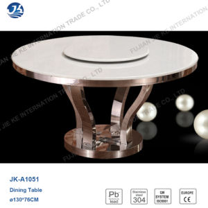 High Quality Round Stainless Steel Marble Table with Small Turn Plate