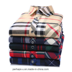 Men′s Plaid Shirt Long Sleeve Casual Fashion Polo Shirt pictures & photos