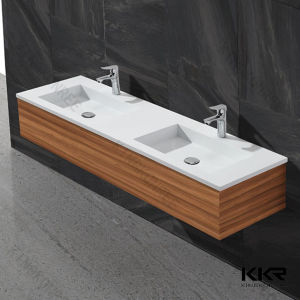 China Solid Surface Rectangular Vanity Double Bathroom Sink pictures & photos