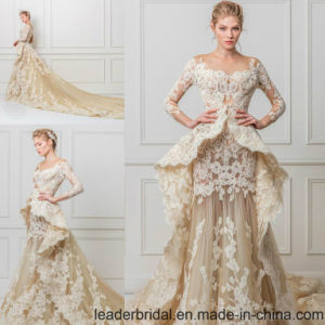 Long Sleeves Lace Bridal Gown Champagne Wedding Dress A132 pictures & photos
