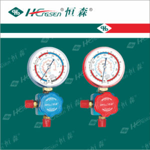 C T-468 G F-L Aluminium Three Way Valve with Gauge with Red Plastic Handle with Shockproof Air Conditioner Parts Refrigeration Parts pictures & photos
