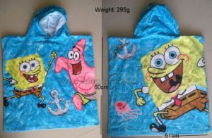 Cotton Terry Velvet Children Cartoon Bathing Poncho with Hood pictures & photos