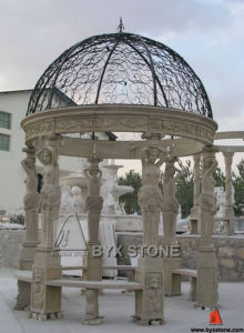 Beige Marble Stone Gazebo with Cast Iron Roof for Garden pictures & photos