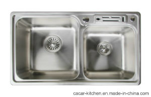 Cacar Modern Countertop Kitchen Sink with Double Bowls (SC8448A) pictures & photos
