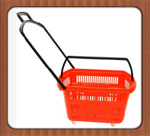 30L Plastic Trolley Bookstore Shopping Basket with Wheels
