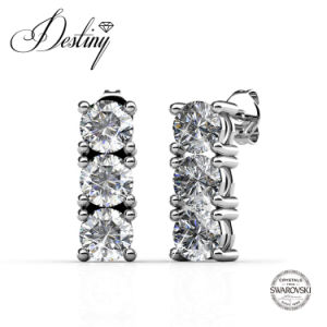 Destiny Jewellery Crystal From Swarovski Tri Stud Earrings