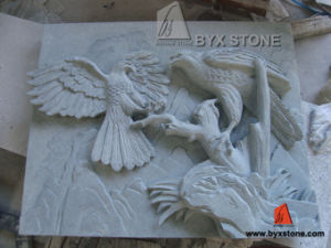White Stone Wall Relief Eagle Sculpture Statue Carving for Decoration pictures & photos