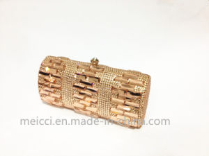 Hot! Ladies Evening Bag, Gold Glass Stone Clutch Bag pictures & photos