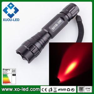 501b 3W LED Flashlight Red Flashlight Torch for Outdoor Hunting Torch 3W 1PC 18650 Li-Battery Powered High Power Torch