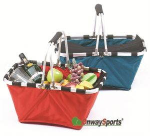 Folding Nylon Baskets with Aluminum Frame in Two Colours