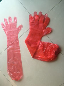 Disposable Veterinary PE Gloves with Long Sleeves Elastic Welded pictures & photos