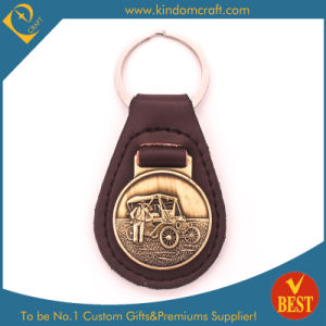 Factory Price Customized Leather Key Ring with Metal Ornament for Promotional Gift pictures & photos
