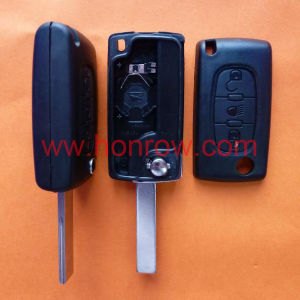 Citroen 407 Blade 3 Button Flip Remote Key Shell with Light Button (HU83 Blade - Light - With&without Battery Place)