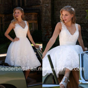 Short Wedding Dress Whitetulle Lace Knee Length Bridal Gown Wd156 pictures & photos