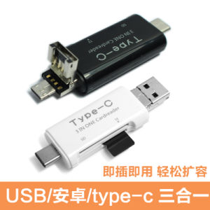 Type C USB Microusb Card Reader SD SDHC Sdxc Microsd/SDHC/Sdxc 3 in One Type-C Card Reader pictures & photos