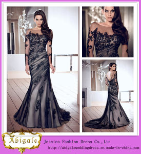 Elegant Brand Name Floor Length Mermaid Long Sleeve Backless Black Lace Evening Dresses From Dubai (WD59) pictures & photos
