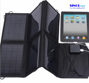 21W Portable Folding Solar Charger, Outdoor Solar Panel Charger with 6 Folds in Black Color (FSC-21B) pictures & photos