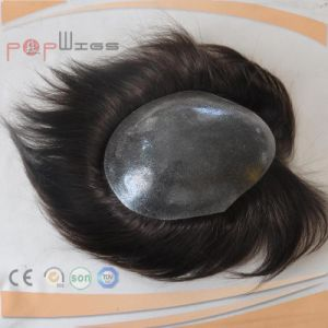 100% Human Hair Dark Color PU Men Wig Type Toupee pictures & photos