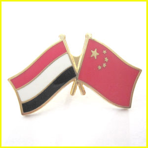 Gold Plated Alloy Meeting Pin China and Yemen Flag Pin
