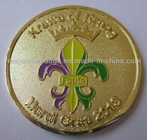 Customized Zinc Die Cast Gold Plating Soft Enamel Coin pictures & photos