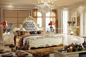 European Style Solid Wood Frame Design Soft Wood Bed (TH556)
