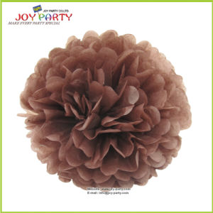 Coffee Brown Paper POM Poms for Shop Hotel Home Decoration