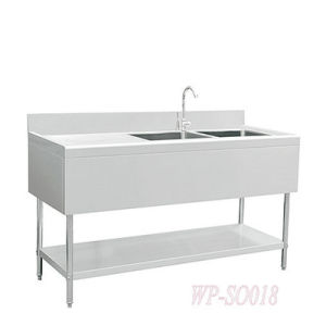 Stainless Steel Double Sinks with Left Grooved Board and Under Shelf pictures & photos