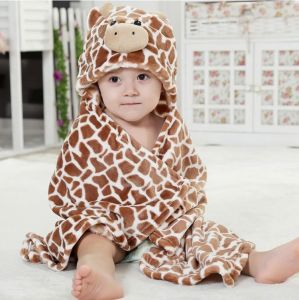 Unisex Baby Blanket Flannel Animals Hoodie Cloak Bathrobe Robe Swaddling, Cow pictures & photos